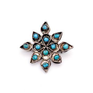 Vintage Zuni Petit Point Turquoise Sterling Brooch